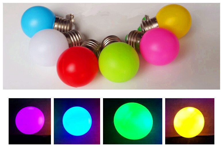 10pcs/ Newest Colorful E27 B22 1W 3W Red Blue Purple 110V 220V Energy Saving LED Golf Ball Light Bulb Globe Lamp Christmas Lamp