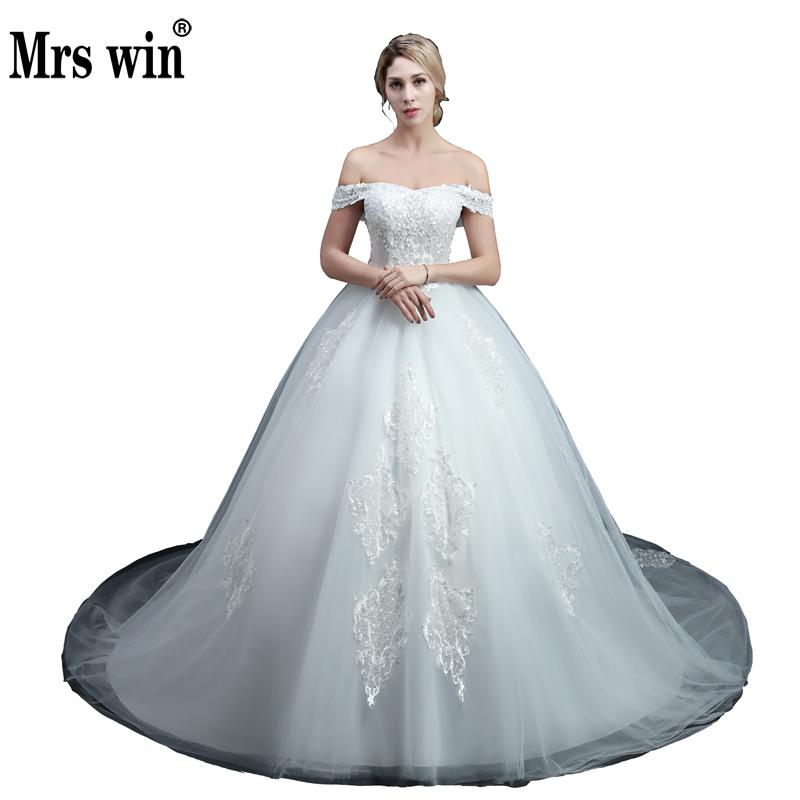Simple Wedding Dresses Boat Neck: Aliexpress.com : Buy Long Train Beading Wedding Dress High