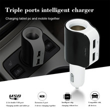 цена на 1 Pcs Car Charger DC 12/24V Dual USB One Way Car Charger + 1 Cigarette Lighter Sockets Power For GPS DVR Mobile Phone MP3 Etc