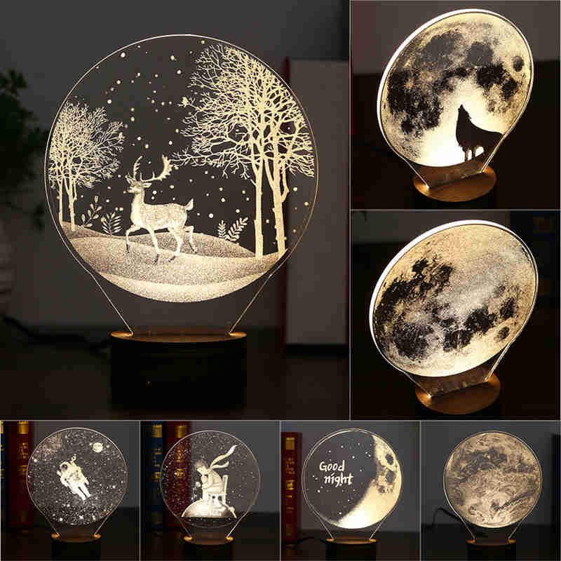 Acrylic Board 3D LED Night Lights USB Button Switch Christmas lights Atmosphere Desk Lamps Wood base Earth Astronaut Moon Light