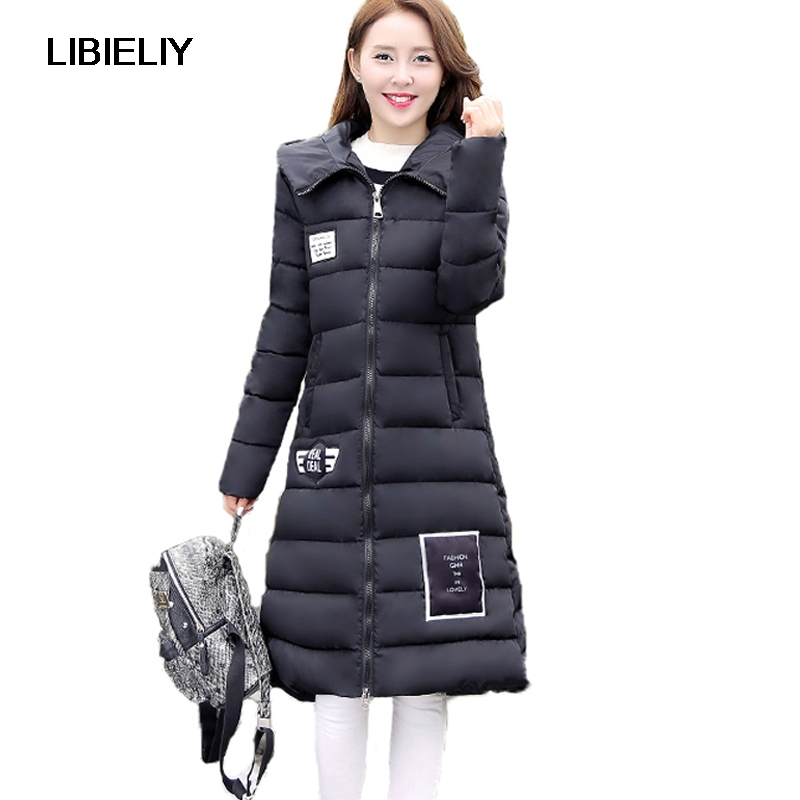 Nice New Long Style  Cotton Parkas Women Winter Coats Thick Solid Color Slim Hooded Down Female Padded Jacket Warm Zipper Coats