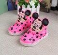 Entrenador de tenis de las muchachas muchachos de la manera luminosa Minnie niños intermitente niños botas sneaker llevó la iluminación del niño zapatos casuales