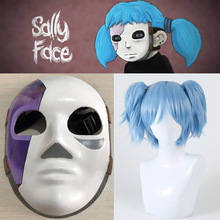 Game Sally Face Cosplay Props Latex Mask Sallyface Blue Wig Hair Clip Ponytails Shiota Nagisa Wigs