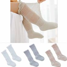 Baby Boy Girl Long Over Knee High Socks Mesh Thin Cotton Solid Color Leg Warmer(China)