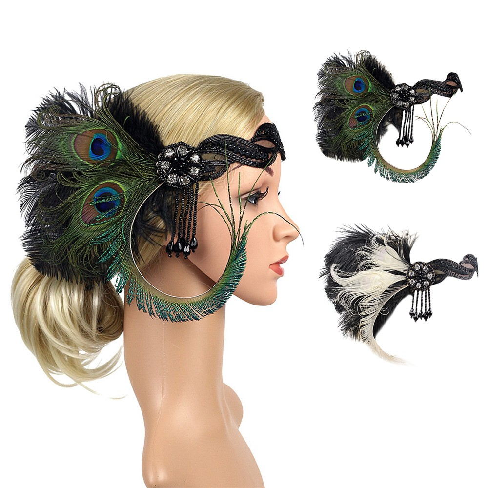 1920s Headband Peacock Feather 20s 20/'s Great Gatsby Flapper Gangster Headpiece