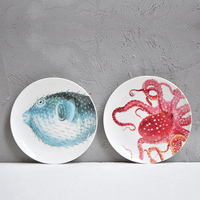 Marine Series Fish Crab Octopus Round Western Table Kitchen Tableware Home Art Decoration Wall Hanging Plate