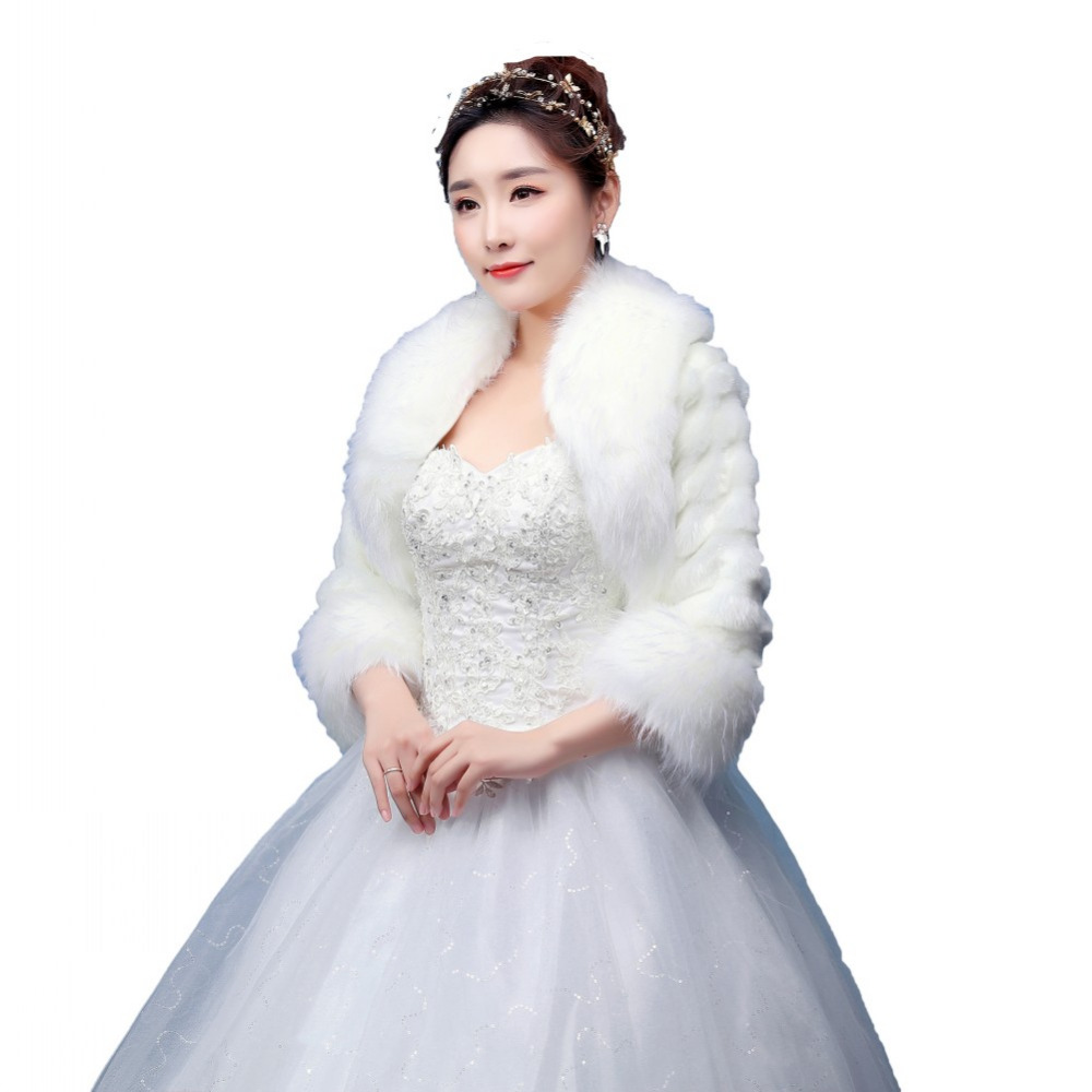 Faux Fur Bridal Wrap Shrug Bolero Long Sleeve Coat Bridal Shawl ...