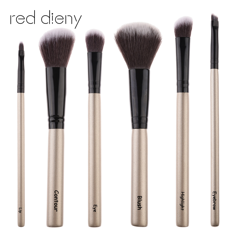 Champagne Make up brushes 6pcs brush set professional Nature bristle brushes beauty essentials makeup brushes 2017 top quality 29pcs makeup brushes professional cosmetic brush set makeup set with case nature bristle make up brushes