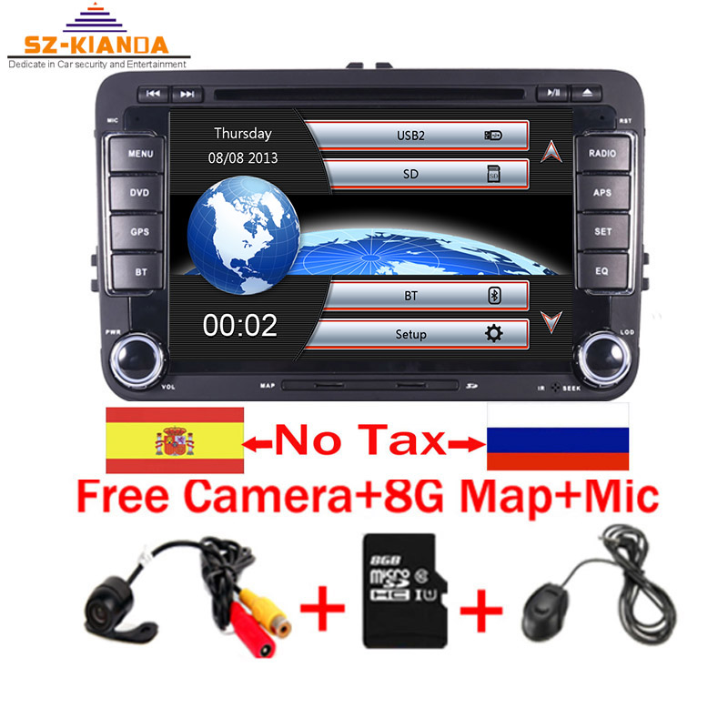 In Stock 7 inch Touch Screen 2din Car DVD <font><b>VW</b></font> <font><b>Golf</b></font> Polo Jetta Passat Tiguan with 3G GPS Bluetooth Radio USB SD Steering wheel image