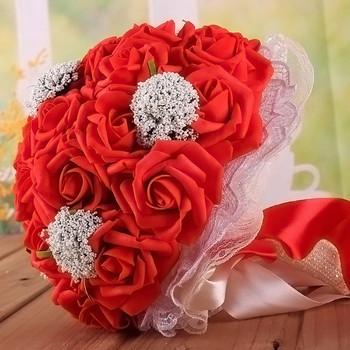 2018 różowy kwiaty ślubne bukiety ślubne bukiet ślubny dla panny młodej kwiat róży bukiety z koronki perła akcesoria ślubne tanie i dobre opinie Poliester Rayon ph01 27cm 0 2kg 23cm PE Satin Lace Pearls Bride Bouquet Wedding Floweris
