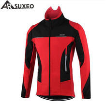 ARSUXEO Thermal Fleece Cycling Jacket Windproof Warmer Bike Jacket Sport Cycling Jersey Clothing Jacket Bicycle Sports Coat