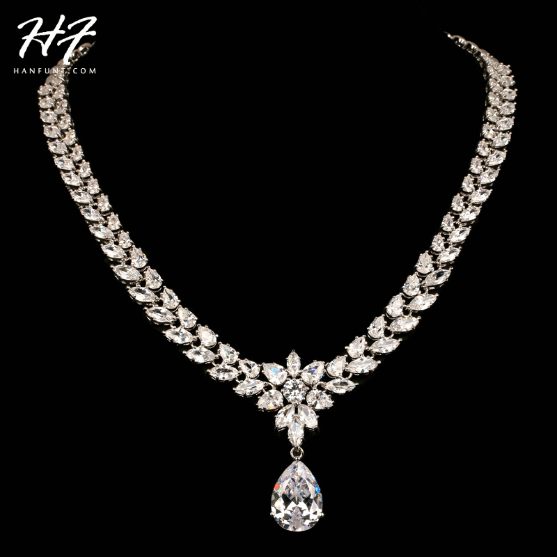 Top Quality N557 Luxurious Water Drop Sliver Color Shinning CZ Crystal Necklace Jewelry for Party and Wedding