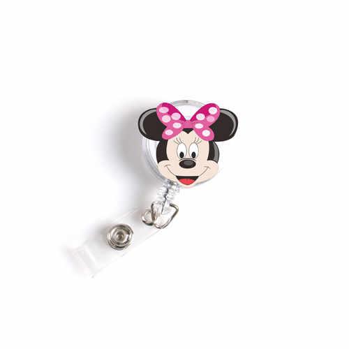 Baru 1 Buah Ditarik Perawat Lencana Reel Lucu Kartun Mickey Minnie Kucing Stitch Siswa IC ID Pemegang Lencana