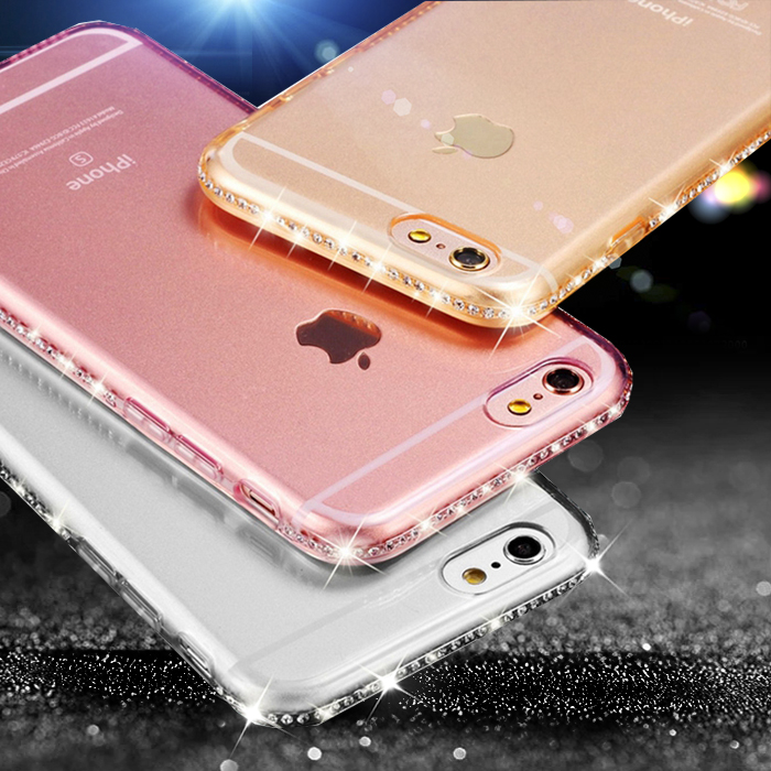Bling Funda para iphone 6 6S Plus iphone 7 8 plus 11promax Rhinestone Silicon Clear Cover Coque para iphone XS Max iphone XR XS X
