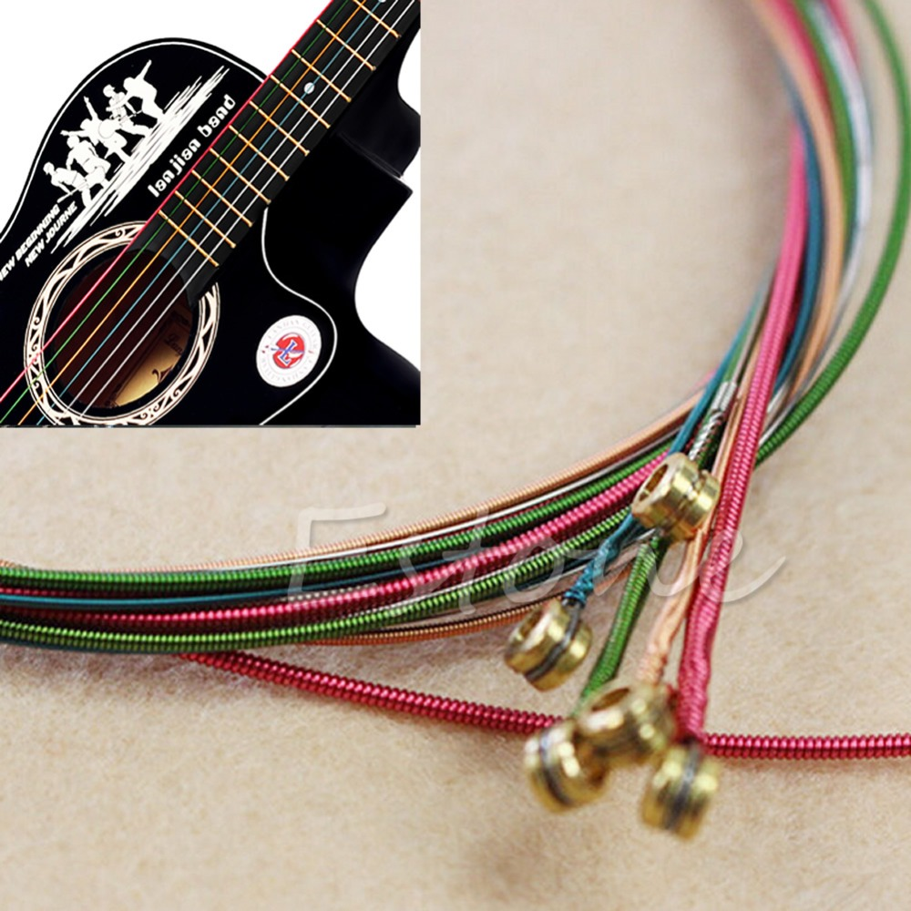 6Pcs Rainbow Colorful Color Strings for Acoustic Guitar Ukulele Instrument Jul4_25 colorful classical guitar strings colorful nylon colorful coated copper alloy wound 0285 044 inch alice a107c
