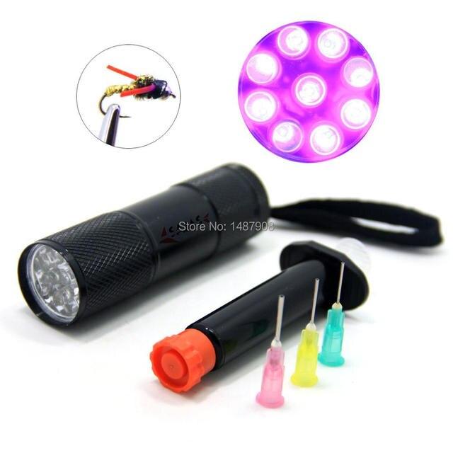 sams angeln 9 leds fliegenbinden kits uv licht taschenlampe und klare klebstoff. Black Bedroom Furniture Sets. Home Design Ideas