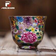 85ml Boutique Collection Famille Rose Porcelain Teacup Kung Fu Tea Set Flowers Color Enamel Ceramic Master Cups Tea Bowl Tea Cup