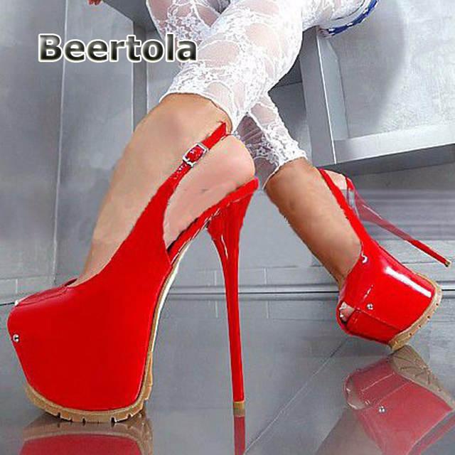 855d700a2de Online Shop Beertola Sexy Peep Toe Women High Heels Platform 16cm Ultra High  Heel Patent Leather Women Shoes Slingback Women Pumps 42 43