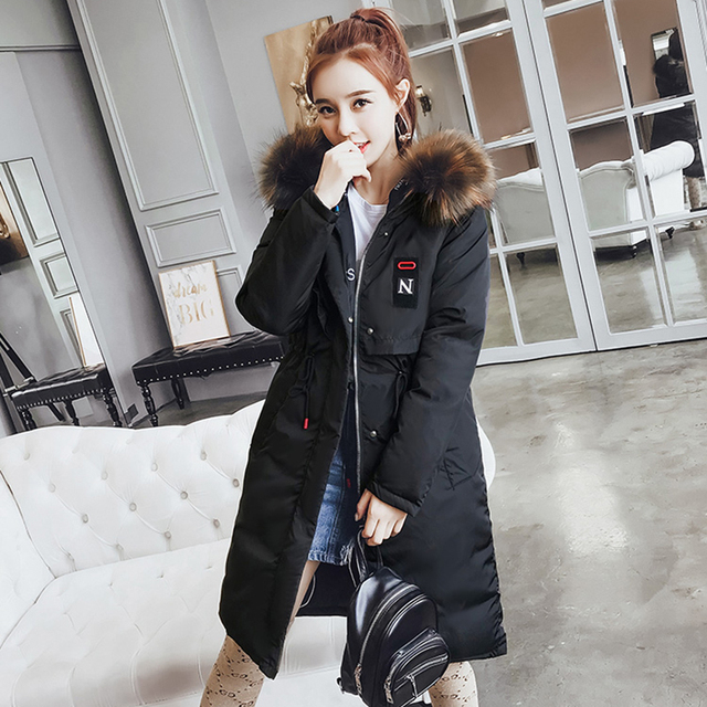 b6768ef28f1e Korean Women Long Down Cotton Jacket Parka 2018 New Large Size Winter  Fashion Feminino Outerwear warm Thick Hooded Coats NO412