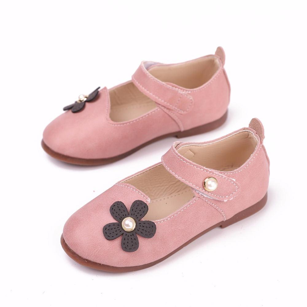 JOYHOPY Spring Autumn Children Shoes PU Leather Cute Cartoon Quality Princess Flower Girls Shoes EUR26-30