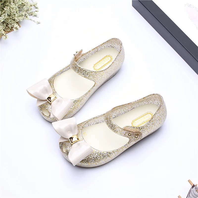 Melissa Big Bow Girls Sandals 2018 New Melissa Jelly Sandals Melissa Baby Beach Sandals Shoes High Quality 15-18cm