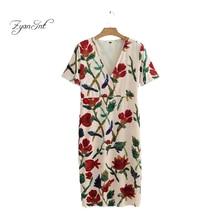 ФОТО 2018 zyanint top brand women dress floral embroidery v-neck spring girl bright velvet dress vintage sheath lady dresses z-9795