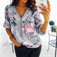 Frühling Große Größe Tops Frauen 2020 Casual V Neck Shirt Damen Vorne Zipper Bluse Lose Blumen Druck Tunika Hemd Camisa feminin