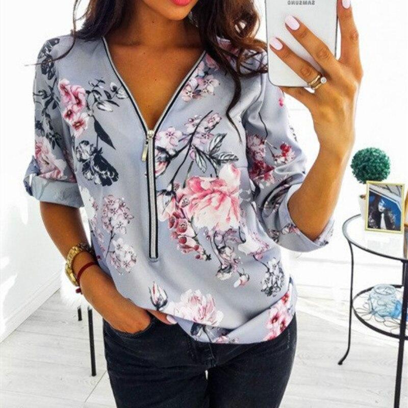 Outono Tamanho Grande Encabeça Mulheres 2019 V Pescoço Camisa Ocasional Senhoras Zíper Frontal Blusa Solta Camisa Camisa Floral Impressão Túnica feminin