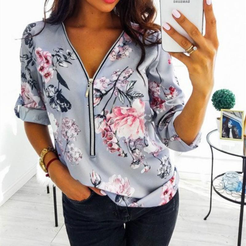 Spring Large Size Tops Women 2020 Casual V Neck Shirt Ladies Front Zipper Blouse Loose Floral Print Tunic Shirt Camisa Feminin