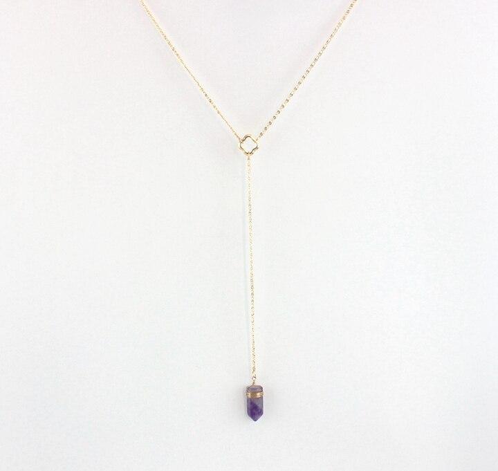 aea8799d195 Colar de pedra Natural de cristal roxo pure manual de bobina de fio de  cobre longo colar de presente do dia dos namorados mulheres