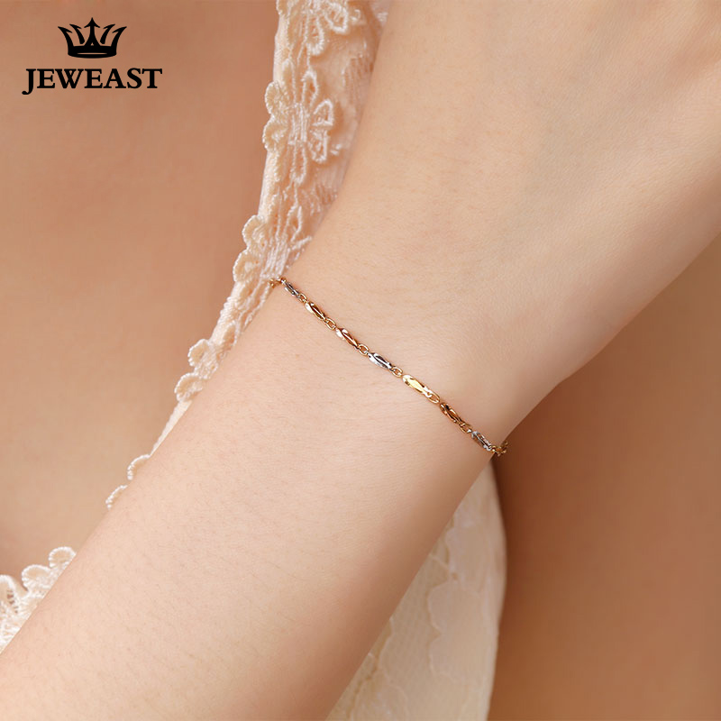 Girl 18K Pure Gold Bracelet Solid Au750 Carambola Bangle White Rose Yellow Party Trendy Women Gift Good Nice Hot Sale Discount