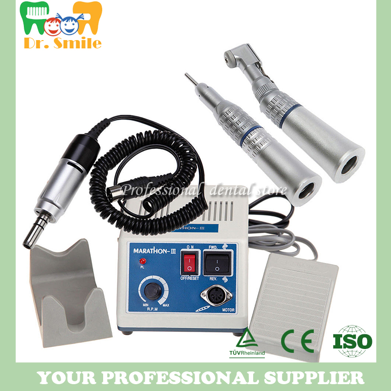 dental Lab micromotor polish handpiece with contra angle & straight handpiece SEAYANG MARATHON 3 + Electric Motor deasin new arrival inner and outer waterway dental electric motor straight contra angle handpiece