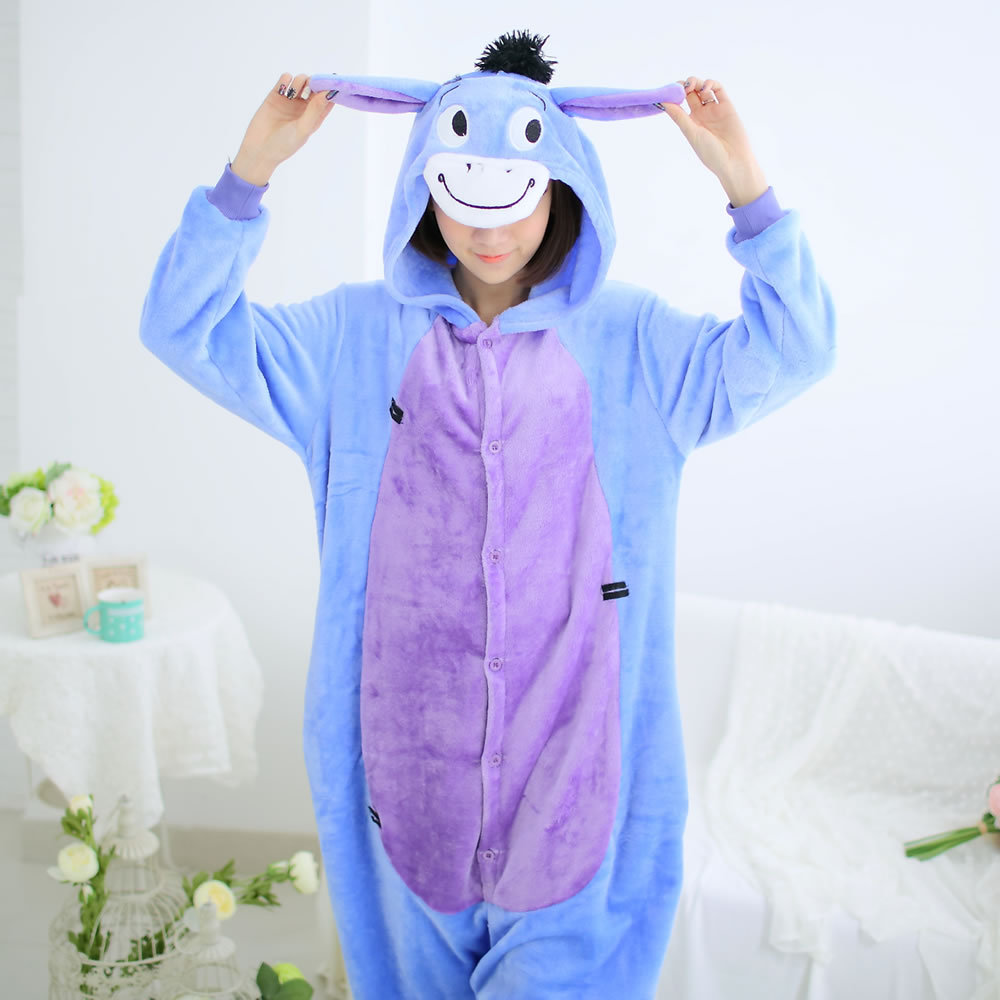 Anime PajamasMen Women adult donkey costume Fleece Kawaii Cute Adult Animal Couples Onesie Pajamas Costume Donkey Eeyore Onesie