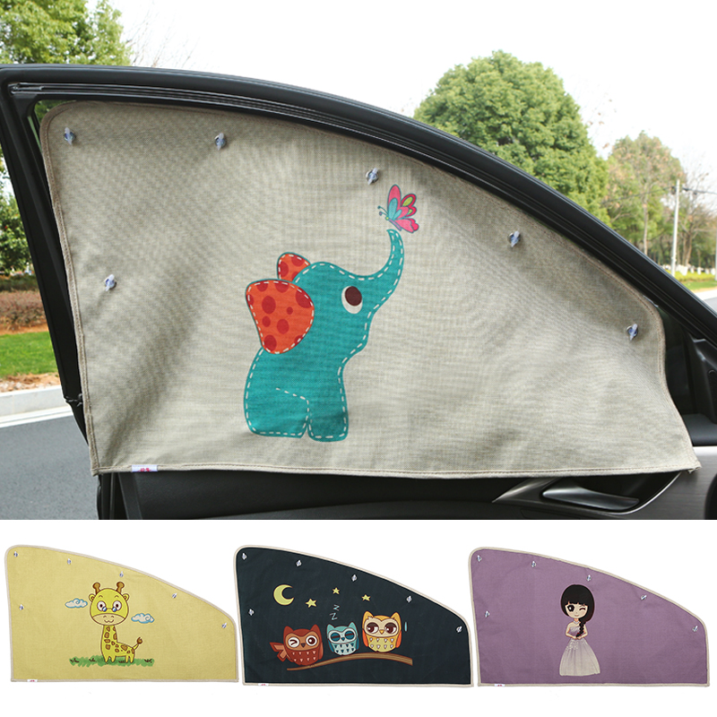 1pc universal Original Cartoon Summer Adjustable sunscreen Baby solar UV protection sunshade curtain For Car Front Side window