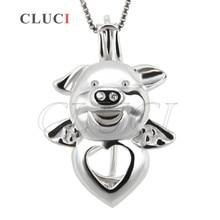 CLUCI Смешно Свиней жемчужный кулон шкентель стерлингового серебра 925 животных медальон подвеска кейдж ожерелье кулон