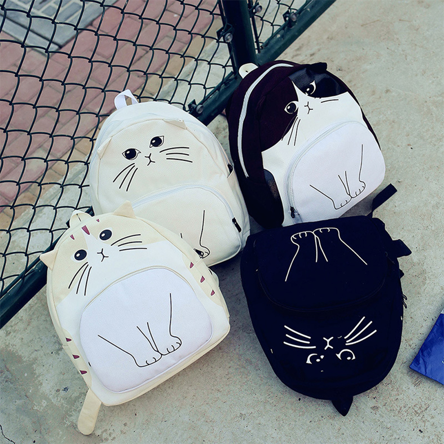 Cute Cats Women Backpack Black Canvas Schoolbags For Teenage Girls High Capacity Student Schoolbags Brand Casual Bags For School 2016 japan famous hot sale anello backpack bags brand women canvas school bags for teenage girls trend casual smile tote bags