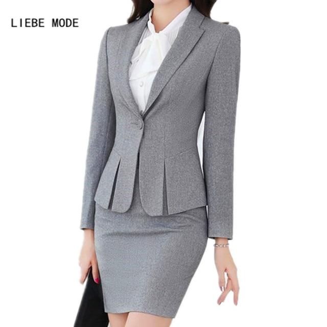 ff6f2cb19e4 2019 Women Mini Skirt Suit Blazer Skirt Set Office Uniform Designs Women  Suit with Skirt Black Grey Red Ladies Office Clothes