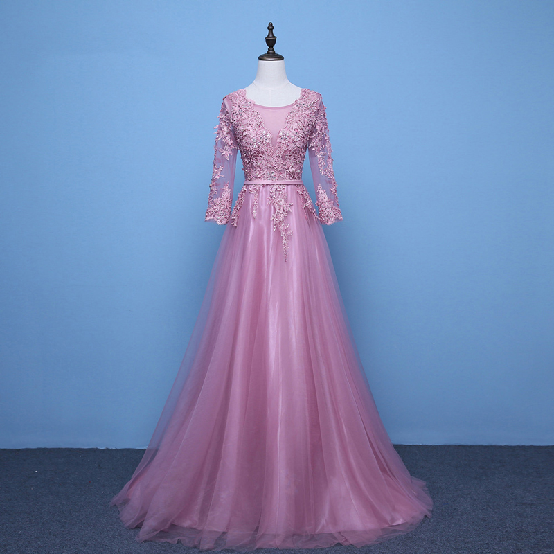 Robes de soirée élégantes longues 2019 Tulle dentelle manches longues perles gris rose robes de soirée femmes robe de soirée longues robes formelles
