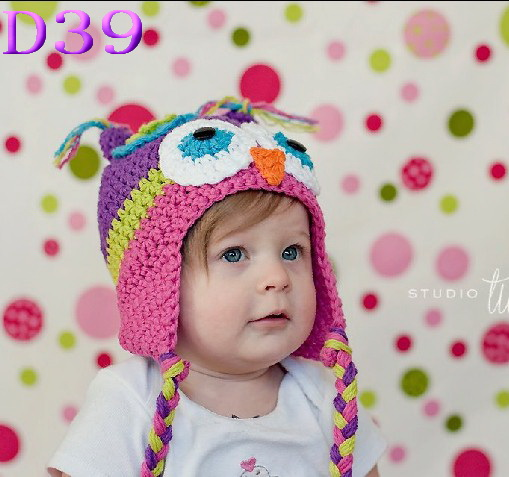 New Cute Multicolor Infant Toddler Handmade Knitted Crochet Baby owl hat Cap  with ear flap Animal ee84122ad81