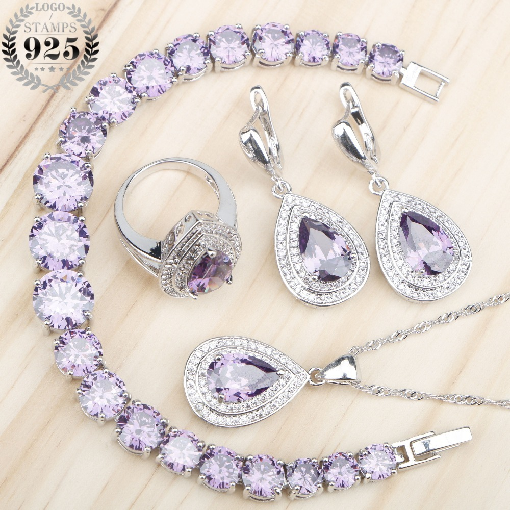 Purple Zircon 925 Silver Jewelry Sets Women Necklace Earrings Rings Set With Stones Charms Bracelets Jewelery Gift Box