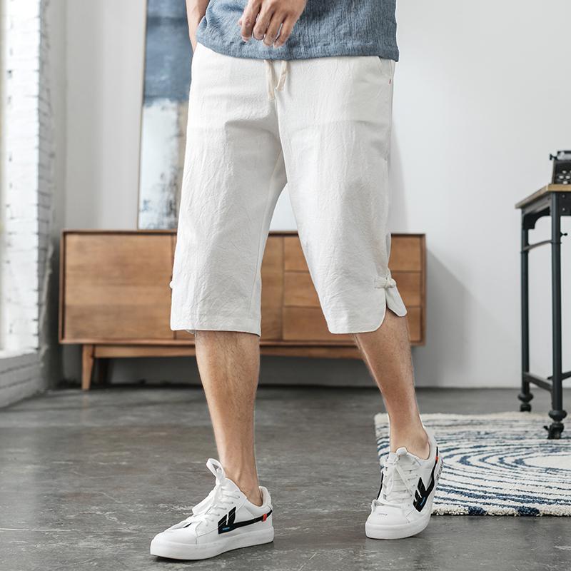 M-5XL Elastic Waist Cropped Trousers Men Streetwear Linen Pants Men Plus Size Fashion Linen Capri Pants Casual Man XXXXXL