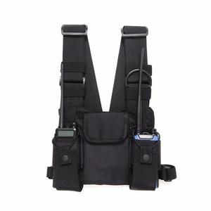Image 3 - Nylon Tactical Chest Bag Holster Pouch 3 pockets Adjustable for Yaesu Baofeng UV 5R uv5r uv 82 uv82 Walkie Talkie iPhone Samsung