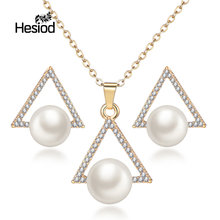 Hesiod New Arrival Luxury Silver Gold Color Triangle Jewelry Sets Crystal Imitation Pearl Long Chain Jewelry Women's Fashion(China)