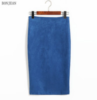 Free Shipping Woman Korean Version New Autumn Fashion Color Skirt Waist 2017 Split Suede Bag Hip