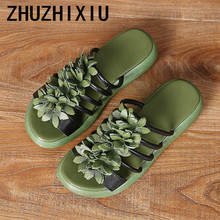 ZHUZHIXIU-Hotsale,2018 summer new style women's genuine leather slippers, flower slippers and thick bottom women's slippers