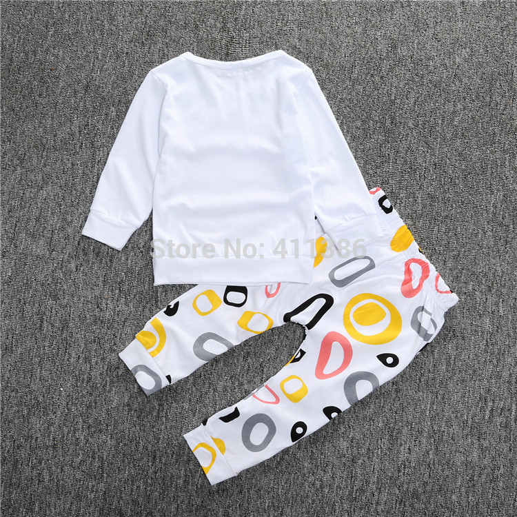 ST189 2017 Nowa dziewczyna przyjazdu i chłopców ubrania ustawić długi rękaw + Spodnie sowa wzór zestaw noworodka ubrania dla dzieci garnitur dzieci odzież 5