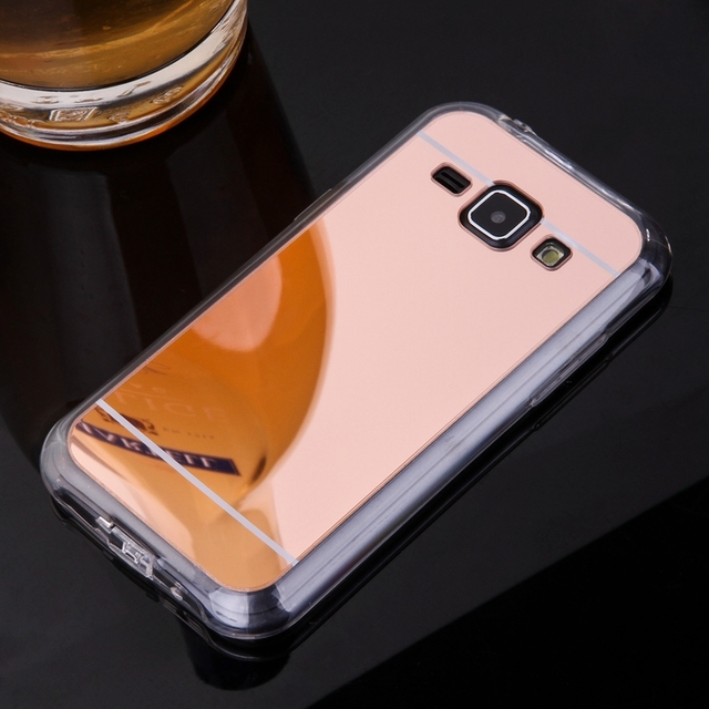 cheap for discount 4131c 062b5 US $3.54 28% OFF|Rose Gold Phone Cases For Samsung Galaxy J1 Mirror Case  Soft TPU Back Cover Case For Galaxy J100 Cell Phone Shell Capinhas Coque-in  ...