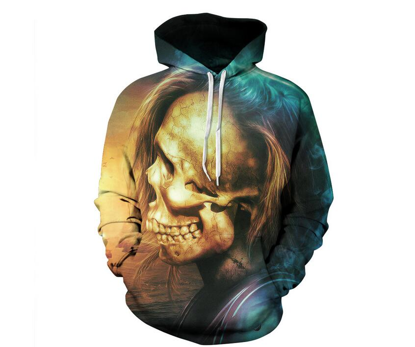 S-XXL New Men/Women Casual 3d Sweatshirts Skull Print Hoodies With Hat pocket Autumn Winter Unisex Thin Hooded Pullovers Tops