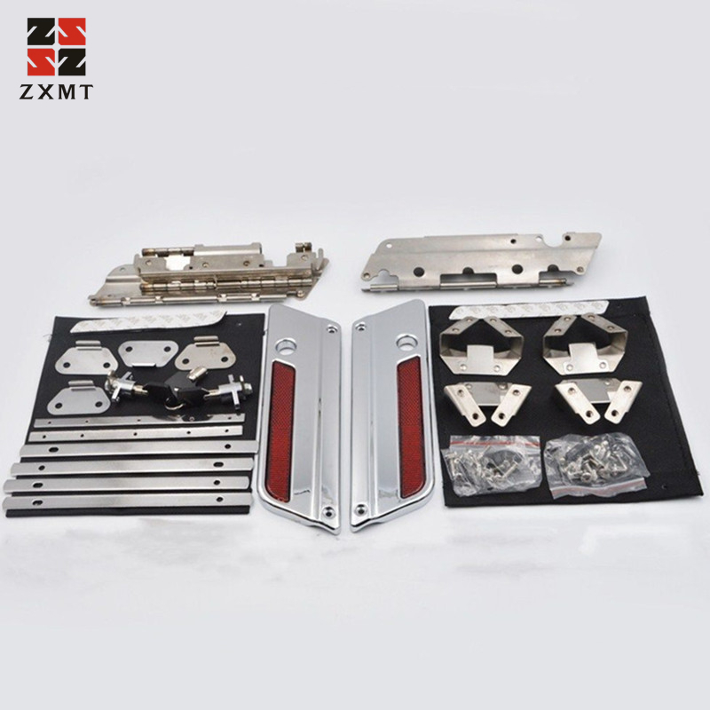 ZXMT moto Chrome couvercles ensemble de loquet couvercle pour harley-davidson sacoche loquet Touring modèles Kit de matériel 1993-2013