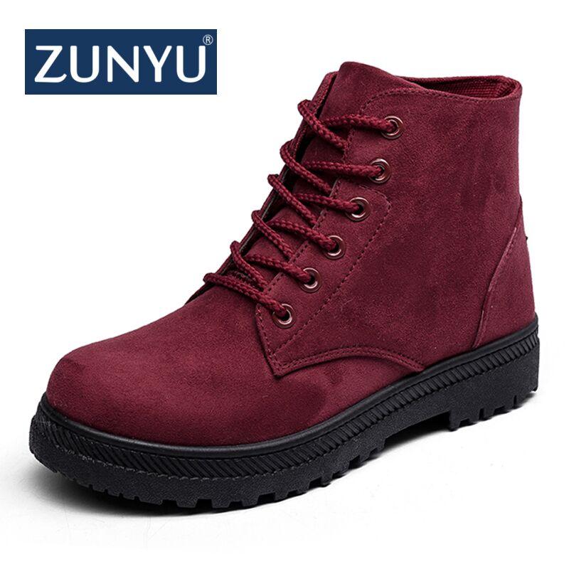 ZUNYU Plus tamaño 35-44 mujer Botas de motocicleta Botas de tobillo Botas de mujer planos de encaje Botas Martin Botas de otoño zapatos botines